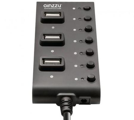 Фото Концентратор USB 2.0 GINZZU GR-487UB 7 x USB 2.0 черный. Купить в РФ
