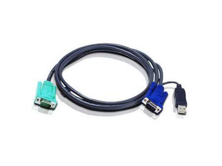 Фото Шнур, мон+клав+мышь USB Aten, SPHD15=>HD DB15+USB A-Тип, Male-2xMale,  8+4 проводов, опрессованный,   3 метр., черный, (2L-5203U). Купить в РФ