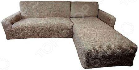 Натяжной чехол на угловой диван с выступом справа Еврочехол Еврочехол «Микрофибра. Кофейный»
