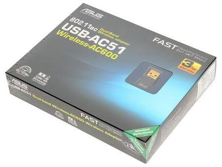 Фото Беспроводной USB адаптер ASUS USB-AC51 802.11ac 433Mbps 2.4/5ГГц. Купить в РФ