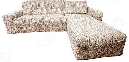 Натяжной чехол на угловой диван с выступом справа Еврочехол Еврочехол «Виста. Элегант Крем» «Виста. Элегант Крем»