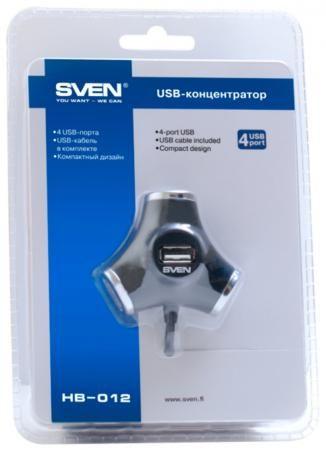 Фото Концентратор USB 2.0 Sven SV-008482 HB-012 4 x USB 2.0 черный. Купить в РФ