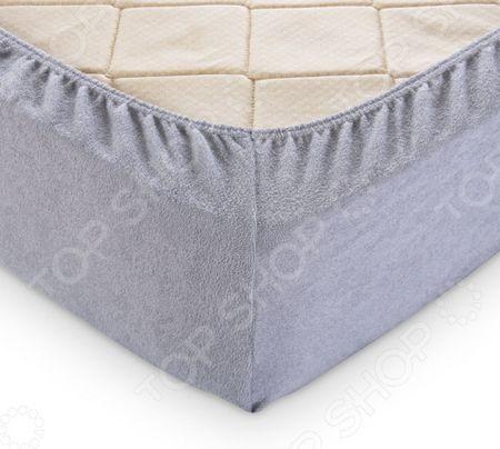 Простыня на резинке ТексДизайн махровая. Цвет: серый махровая. Цвет: серый
