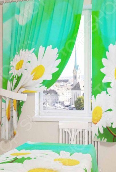 Здесь можно купить «Белые ромашки»  Фотошторы Сирень «Белые ромашки»