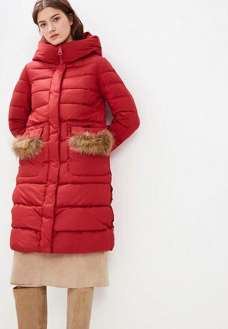5787efb4834 Куртка утепленная Clasna. Цвет  красный. Сезон  Осень-зима 2018 2019. С  бесплатной доставкой и примеркой на Lamoda.