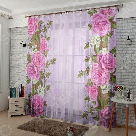 Комплект тюля ТамиТекс «Китайские розы» «Китайские розы»
