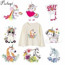 Pulaqi Cute Unicorn Flower Patches Iron On Transfers Heat Thermal Transfer  Patch For T-Shirts Cartoon Animal Decor For Kids F