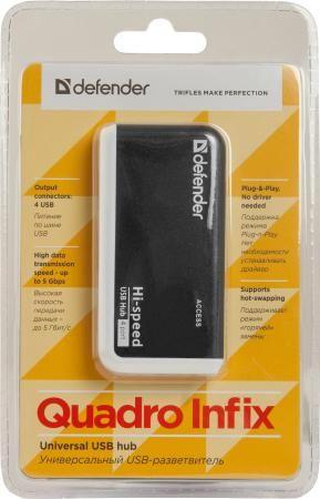 Фото Концентратор USB 2.0 DEFENDER Quadro Infix 4 x USB 2.0 черный белый 83504. Купить в РФ