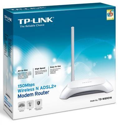 Фото Беспроводной маршрутизатор ADSL TP-LINK TD-W8901N 802.11n 150Mbps 2.4ГГц 20dBm 4xLAN. Купить в РФ