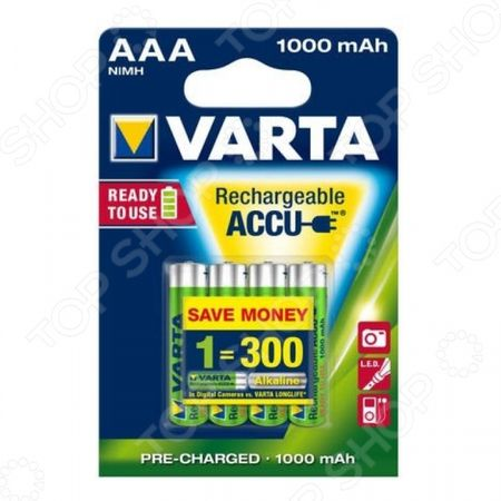 Батарея аккумуляторная VARTA AAA R2U 1000 мАч 4 шт. AAA R2U 1000 мАч 4 шт.