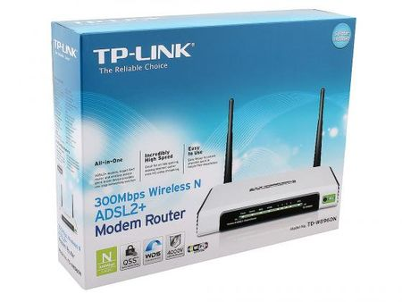 Фото Беспроводной маршрутизатор ADSL TP-LINK TD-W8960N 802.11n 300Mbps 2.4ГГц 19dBm 4xLAN. Купить в РФ