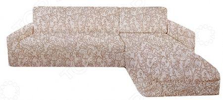 Натяжной чехол на угловой диван с выступом справа Еврочехол Еврочехол «Виста. Антея»