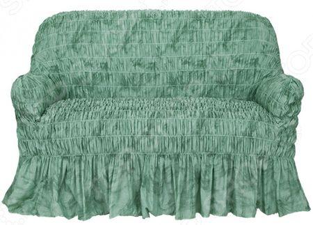Натяжной чехол на двухместный диван Еврочехол Еврочехол «Фантазия. Зеленый»