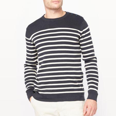 Пуловер-тельняшка с круглым вырезом, из биохлопка-Oeko Tex