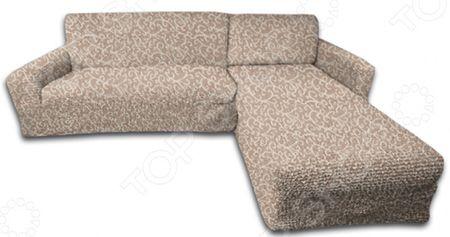 Натяжной чехол на угловой диван с выступом справа Еврочехол Еврочехол «Жаккард. Волны»