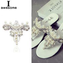 418ffec4b0 1pcs Beautiful Flower Bridal Wedding Party Shoes Accessories High Heels  Shoes DIY Manual Pearl Rhinestone Shoe Decorations