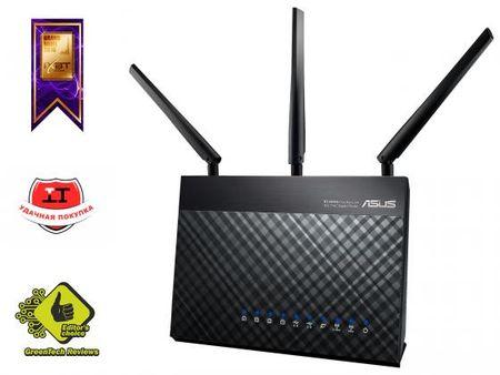Фото Беспроводной маршрутизатор ASUS RT-AC68U 802.11acbgn 1900Mbps 5 ГГц 2.4 ГГц 4xLAN USB3.0 черный. Купить в РФ