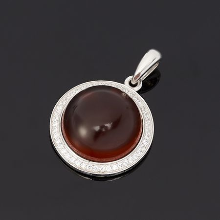 Кулон янтарь круг (серебро 925 пр.) f3e78ab6d67ae