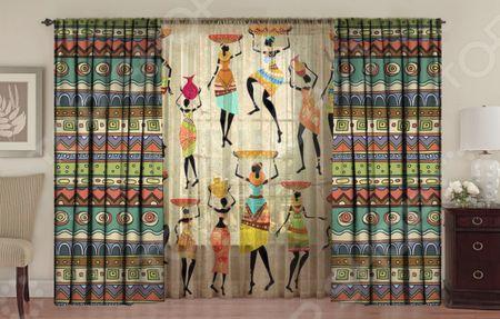 Здесь можно купить «Африканские мотивы»  Комплект фотоштор с тюлем ТамиТекс «Африканские мотивы»