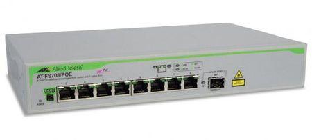 Фото Коммутатор Allied Telesis AT-FS708/POE-50 неуправляемый 8 портов 10/100Mbps 1xSFPuplink PoE. Купить в РФ