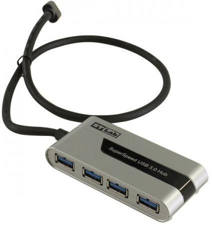 Фото Концентратор USB 3.0 STlab U760 4 х USB 3.0 серебристый черный. Купить в РФ