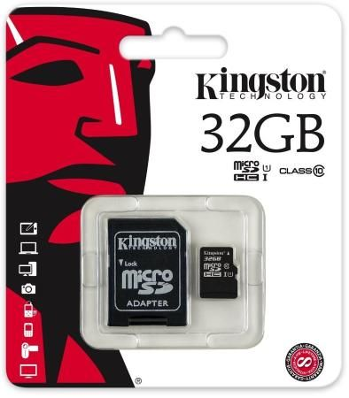 Карта памяти Micro SDHC 32GB Class 10 Kingston SDCIT/32GB + адаптер SD