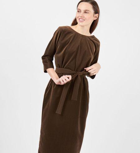 8eb84eb2b14 Платье миди с вырезом и пуговицами сзади зелено коричневое - godsend ...