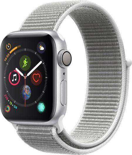 ad514b8c Часы Apple Watch Series 4 40 мм корпус из алюминия серебряный + спортивный  ремешок серебряный нейлоновый (MU652RU/A)
