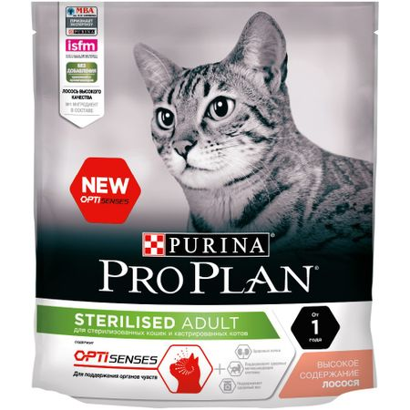 Pro Plan dry food for sterilized cats and neutered cats (for the maintenance of the senses), with salmon, 8 x 400 g